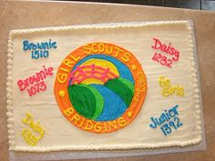 Girl Scouts are All Fun All The Time.and my Girl Scout troops have a big celebration at the end of every school year. Girl Scout Bridging, Girl Scout Troop, Brownie Girl Scouts, Girl Scout Juniors, Daisy Girl Scouts, Scouting, Amazing Cakes, Projects To Try, Girly