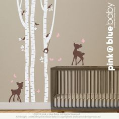 orange birch tree wall decals | Wall Decals Birch Trees with fawns : Nursery Wall Decal