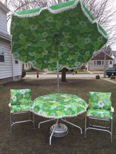 Vintage Mid Century Floral Patio Set 7' Umbrella 2 Chairs w Original Cushions | eBay