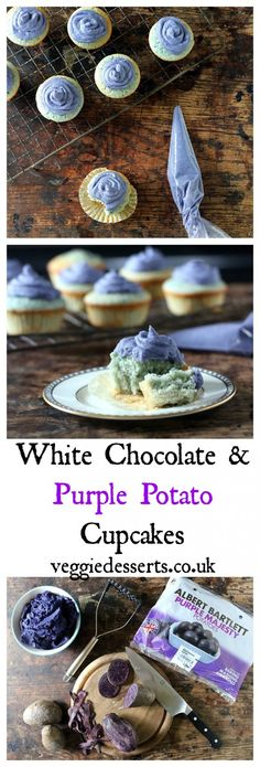 White Chocolate and Purple Potato Cupcakes with Purple Potato Frosting | Veggie Desserts Blog  I know that purple potato cupcakes sound crazy, but trust me! The potatoes add bulk and colour, so it tastes like a white chocolate cupcake. I've even used the vibrant spuds to make a white chocolate purple potato frosting.