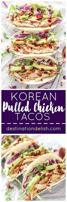 Korean Pulled Chicken Tacos   Destination Delish - Korean-inspired tacos filled with tender pulled chicken, kimchi, and lettuce. It's a quick and healthy dinner the whole family will love!