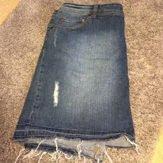 $10 CLOSET CLEAR OUTDistressed jean skirt EUC - Distressed look with fly always at the bottom. Pure Energy Skirts