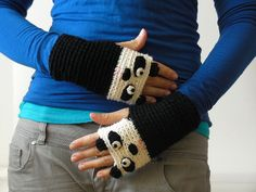 PANDA FINGERLESS GLOVES Mittens Hand Warmers Crocheted Merino Wool Fall Autumn Winter Forest Animal Zoo Kids Adults