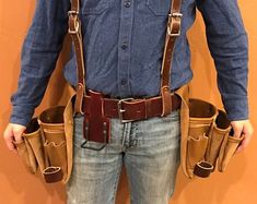 Leather Tool Belt w/ Suspenders Padded Suspension Rig Free Leather Tool Pouches, Tool Belt Pouch, Leather Tool Belt, Leather Tooling, Amish, Carpenter Tool Belt, Crea Cuir, Shooting Accessories, Leather Carving