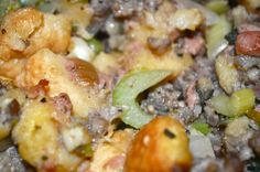Bread Stuffing made with Challah bread Thanksgiving Stuffing, Challah, Potato Salad, Potatoes, Bread, Chicken, Dinner, Fall, Ethnic Recipes