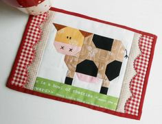 Looking for your next project? You're going to love Patchwork Cow Mug Rug and Blocks by designer The Patchsmith.