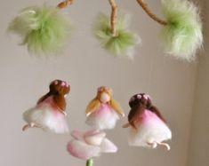Items similar to Purple Flower Fairy Nursery Mobile Waldorf inspired Needle Felted : Fairy in the Branch on Etsy Fairy Nursery, Fairy Room, Wool Dolls, Felt Dolls, Spring Fairy, Felt Fairy, Needle Felted, Tiny Dolls, Flower Fairies