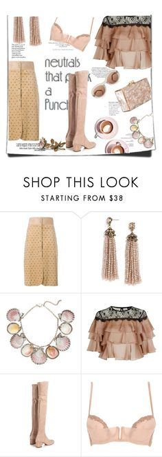 """""""Capuccino"""" by theitalianglam ❤ liked on Polyvore featuring Lanvin, BaubleBar, Paolo Costagli, Topshop, Valentino, La Perla, Edie Parker, Martha Stewart and neutrals"""