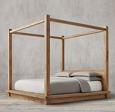 RH's Reclaimed Russian Oak Four-Poster Bedroom Collection Natural
