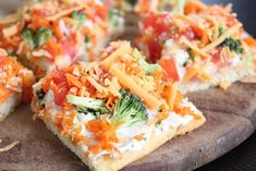 Veggie Bars, I love these but instead of cutting all the veggies i buy the broccli slaw mix