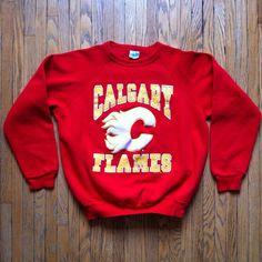 0e5718acb vintage 1988 calgary flames sweatshirt youth medium red  80s original logo  hockey from  24.0
