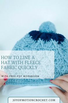 How to line a hat with fleece fabric quickly. How to put lining in a crocheted beanie. Line crochet projects. FREE crochet tutorial. Step by Step crochet tutorials. #crochettutorial #freecrochet #crochettutorials #crochetlining #crochethat