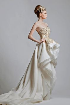 Krikor Jabotian Gold and White Wedding Gown Cheap Wedding Dresses Uk, Cheap Dresses, Collection Couture, Bridal Collection, Winter Collection, Couture Mode, Couture Fashion, Dresses 2013, Prom Dresses