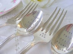 bride and groom flatware