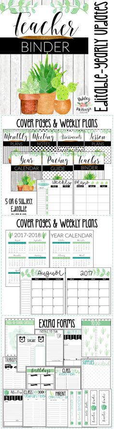 Watercolor succulent & cactus Teacher Binder- Includes cover pages, calendars, extra forms and more!