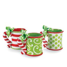 Mugs by MudPie. Love the whimsical hip  color & design.  Can't wait to make a PSL or Hot Chocolate with lots of whipped cream in the polka-dot mug...