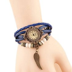 Hosaire Watch Bracelet Vintage Multilayer Weave Wrap Around Leather Chain Bracelet Quartz Wrist Watch with Wing Pendant for Women Men Blue  ❤️Round watch dial with Arabic numerals hour indexes. 3 small hands display hour/min/sec, 12 hours Function  ❤️Material: leather watchband and alloy dial pedant  ❤️Multi-layer leather strap, adjustable with metal buckles to fit most people  ❤️NB: not waterproof, please take care; battery included  ❤️Also a braclet decoration