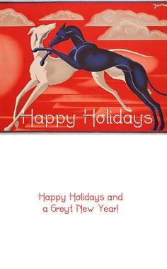 Art Deco Greyhound Christmas Cards Set