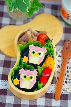 Pink owl bento