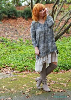 FASHION FAIRY DUST STYLE BLOG// Camo Tunic, Ruffle Skirt Extender, Over The Knee Boots, Outfit Inspiration, Boho Outfit, Boho