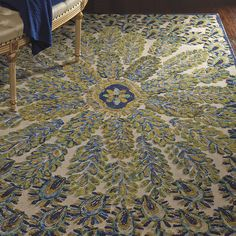 6' round version of Frontgate wool peacock rug.....