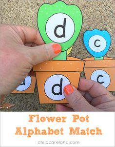 Flower pot alphabet match for letter recognition and review as well as fine motor development.