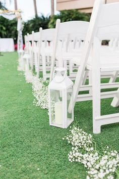 Elegant wedding ceremony aisle marker idea - simple ceremony aisle markers - white lanterns with baby's breath aisle runner {Thompson Photography Group}