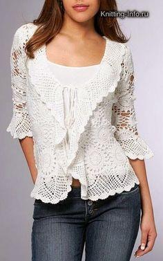 Lace top blouse, jacket crochet handmade , custom made . Shrug Bolero by Irenastyle via Etsy Cardigan Au Crochet, Gilet Crochet, Crochet Jacket, Crochet Cardigan, Crochet Shawl, Hand Crochet, Crochet Shrugs, Crochet Sweaters, Crochet Motif