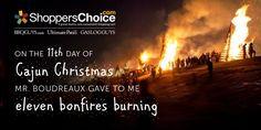 A Louisiana tradition - Bonfire Burning on the levee   Cajun Christmas   12 Days of Christmas