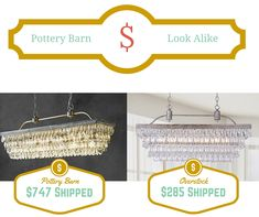 How beautiful is this Pottery Barn Clarissa Chandelier?  Get the look for less!