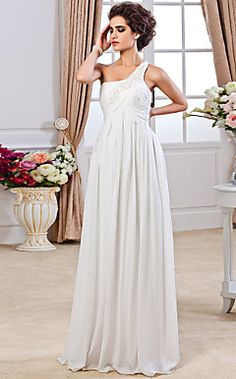 Sheath/ Column One Shoulder Floor-length Chiffon Wedding Dress