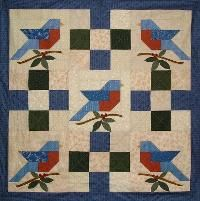 Summer's Song Bluebird Quilt Pattern. Inspiration for quilt modification of of blue bird figure from Blue Bird Flour sacks.