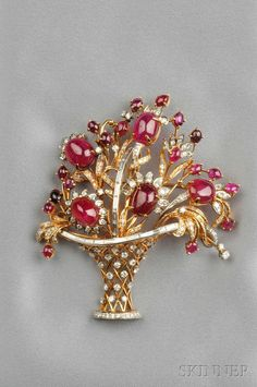 14kt Gold, Ruby, and Diamond Flower Basket Pendant/Brooch | Sale Number 2601B, Lot Number 367 | Skinner Auctioneers