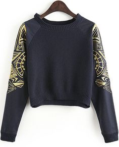 Navy Embroidery Long Sleeve Crop Sweater pictures