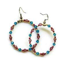 Sparkling Teal Mauve Beaded Hoop Earrings/ Colorful by ALFAdesigns, $11.99