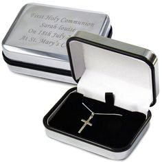 Sterling Silver First Communion Cross Necklace and Personalised Box - Personalized First Communion Gifts for boys and girls Sterling Silver First