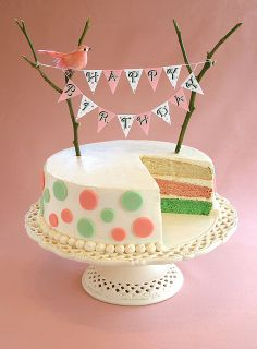 Birthday Bunting Cake by kellbakes