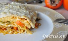Receta: lasaña de pollo y verduras > http://www.blogcocina.es/2013/02/18/receta-lasana-de-pollo-y-verduras/