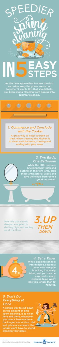 Speedier Spring Cleaning in 5 Easy Steps #infographic #DIY #Cleaning #Spring