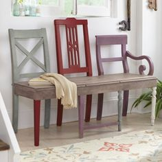 artisan bench made from three old chairs