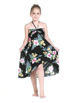 Girl Hawaiian Luau Butterfly Dress in Hibiscus Black