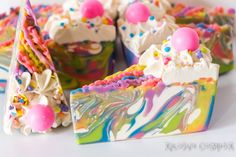 Cherry Blast! Rainbow Soap Cake - Coconut Milk, Cold Process, Shea butter, Aloe Vera, Vegan 6 oz.