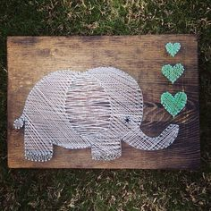 Items similar to elephant string art - wall hanging - nursery decor on etsy - Creative, cute, completely handmade elephant decoration. Cute unique wall hanging for a baby nurser - Cute Crafts, Crafts To Do, Arts And Crafts, String Art Diy, String Art Heart, Arte Linear, Art Mur, String Art Patterns, Ideias Diy
