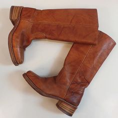 Cognac Frye boots size 7.5  Find more unique consignment pieces at www.revolverboutique.com
