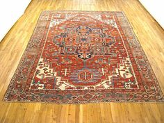"Persian: Geometric 11' 8"" x 9' 7"" Antique Serapi at Persian Gallery New York - Antique Decorative Carpets & Period Tapestries"