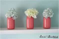 I'm so doing this - thrifted mason jars, leftover dollar store acrylic paint, fake flowers on clearance at Michaels...