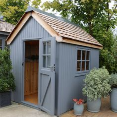 Ex-display Kew Darwin Shed The Effective Pictures We Offer You About stone Garden Shed A quality picture can tell you many things. You can find the most beautiful pictures that can be presented to you Painted Garden Sheds, Painted Shed, Shed Landscaping, Backyard Sheds, Shed Design, Garden Design, Building Design, Posh Sheds, Small Sheds