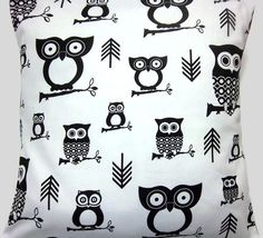 Black, White, Pillow Covers, Handmade, Owl Design
