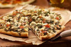 Whole-Wheat Pizza Dough Recipe via Makes 2 pizzas. 136 calories for of whole recipe Spinach Pizza, Spinach And Cheese, Mediterranean Pizza, Mediterranean Recipes, Pizza Recipes, Cooking Recipes, Healthy Recipes, Clean Recipes, Delicious Recipes