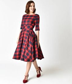 The Pretty Dress Company Red & Navy Blue Oversized Plaid Hepburn Swing Dress - Christmas Tree Festival next year